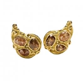 Rose Cut Brown Diamond Earrings