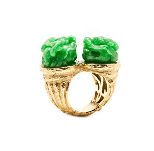Carved Jade FuDog Ring