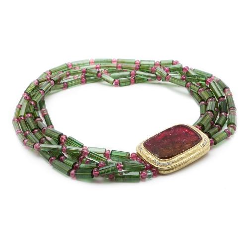 Green & Pink Tourmaline Bead Necklace with Tourmaline Slice & Diamond Clasp