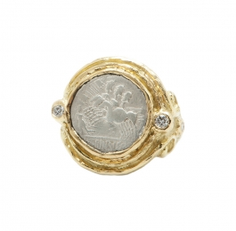 Ancient Silver Coin & Diamond Ring