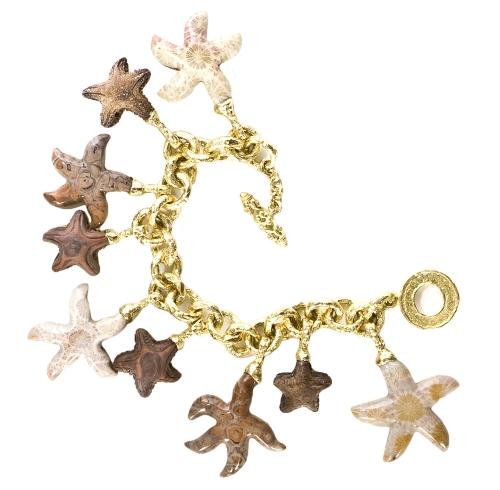 Jasper & Coral Starfish Charm Bracelet with Medium