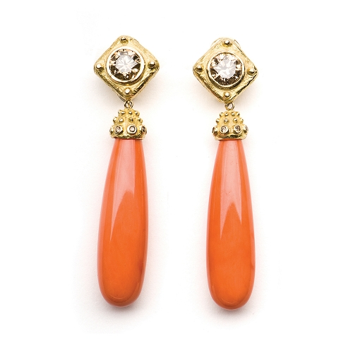 Cognac Diamond & Coral Earrings
