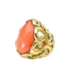 Coral & Diamond Ring