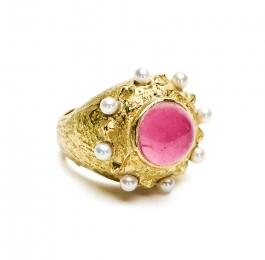 Dots & Diamonds Ring in Pink Tourmaline & Pearl