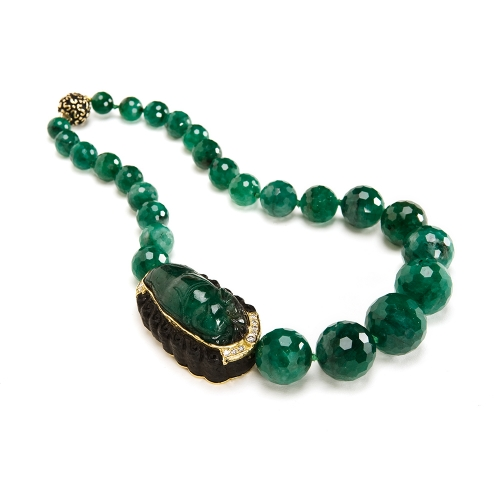 Faceted Emerald Bead Necklace with Carved Emerald, Jet & Diamond Station & Enameled Laura Clasp