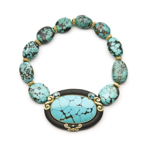 Turquoise, Jet & Blue Zircon Necklace with Laura Rondelles