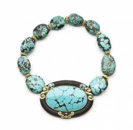 Turquoise, Jet & Blue Zircon Necklace with Laura Rondelles