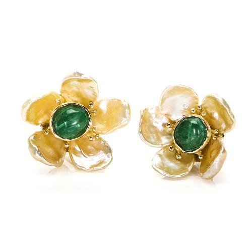 Pearl Petals & Cabochon Emerald Earrings