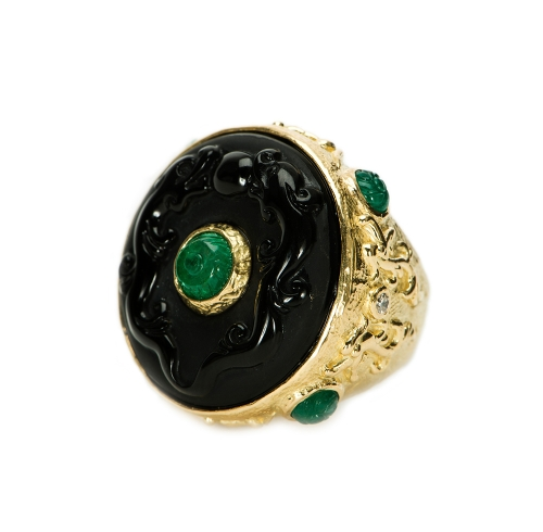Obsidian, Emerald & Diamond Ring