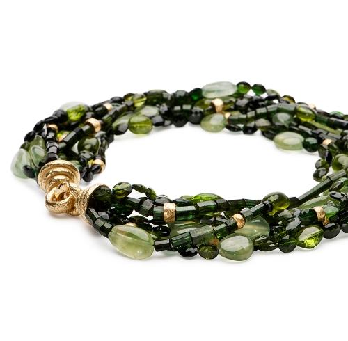 Green Tourmaline, Peridot & Prehnite Necklace with Gold Rondelles & XXLarge Chinati Clasps