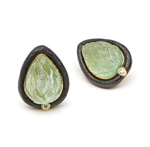 Carved Beryl, Ebony & Diamond Earrings