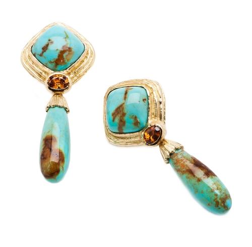 Turquoise & Brown Zircon Earrings