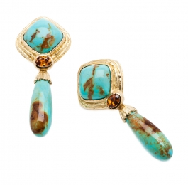 Turquoise & Brown Zircon Earrings