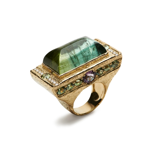 Bi-Color Tourmaline, Demantoid Garnet, Purple Spinel & Diamond Ring