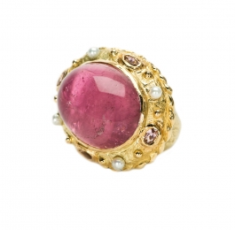 Tourmaline, Diamond & Pearl Ring