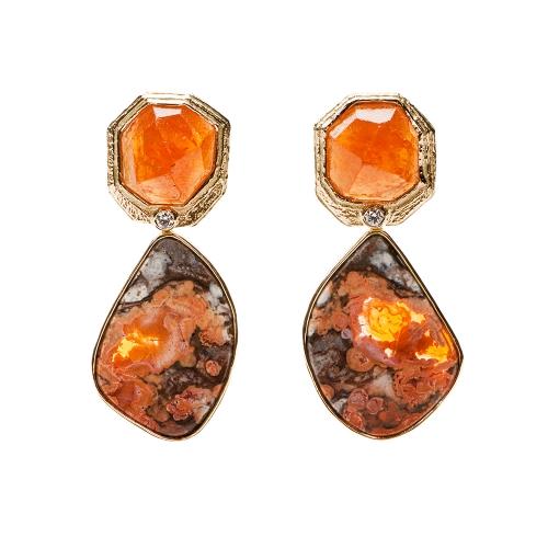Spessartite Garnet, Diamond & Mexican Opal Earrings