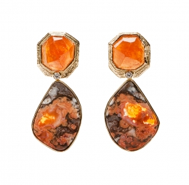 Spessartite Garnet, Diamond & Mexican Opal Earrings
