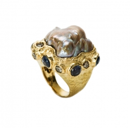 Freshwater Pearl, Diamond & Spinel Ring