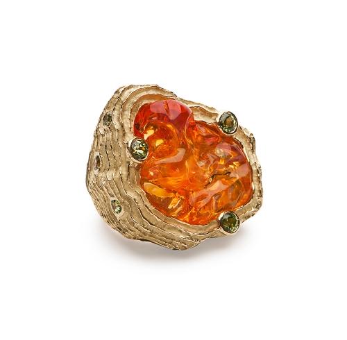Opal & Garnet Ring