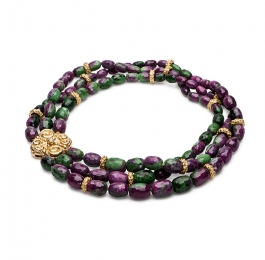 Ruby Zoisite Necklace with Sacred Spirals Clasp & Laura Rondelles