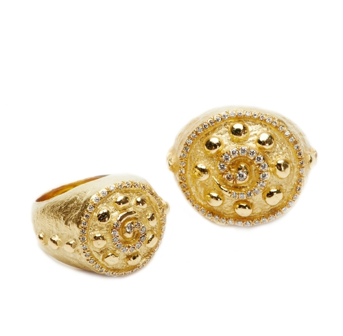 Spirals & Dots Rings with Diamonds