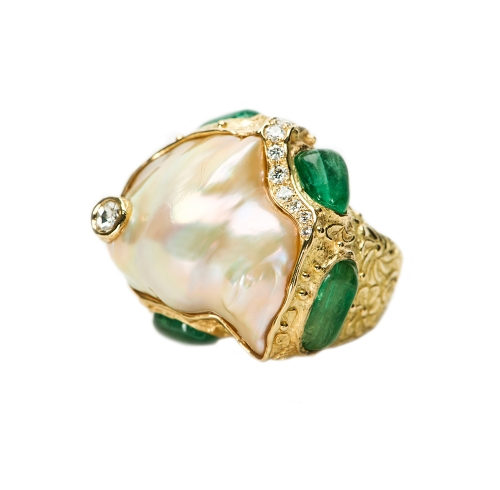 Fresh Water Pearl, Emerald & Diamond Ring