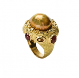 Bronze Freshwater Pearl, Brown Tourmaline, Spinel & Diamond Ring