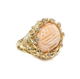 Carved Pink Coral & Diamond Ring
