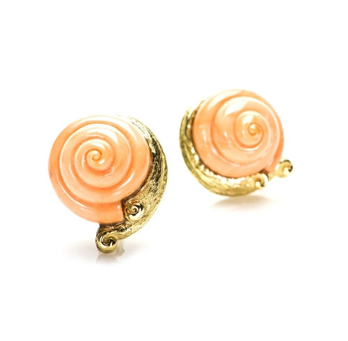 Carved Coral Earrings