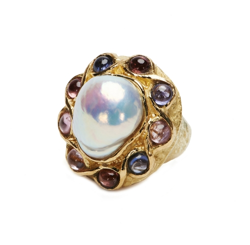 Baroque Freshwater Pearl & Cabochon Multi-Colored Spinel Ring