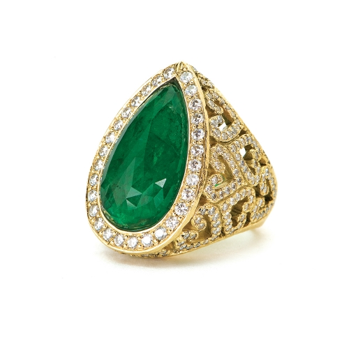 Faceted Emerald Briolette & Diamond Ring