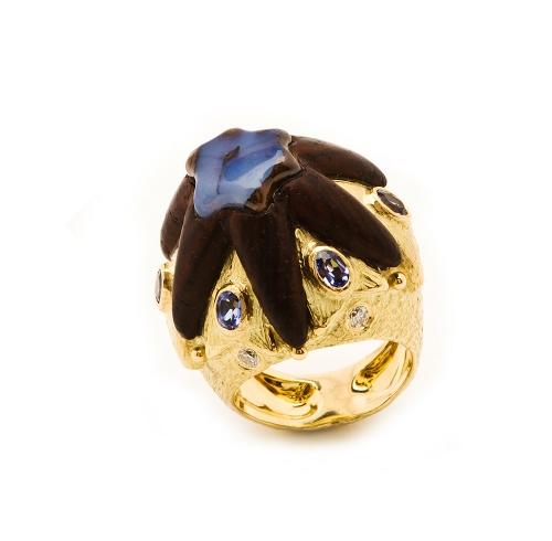 Suzanne's Ring in Coco Bolo, Boulder Opal, Tanzanite & Diamond