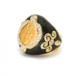 Carved Ebony, Ancient Coin & Diamond Ring
