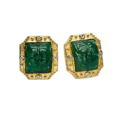 Carved Emerald & Diamond Earrings (Zambian)