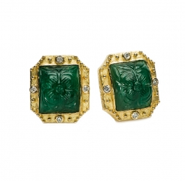 Carved Emerald & Diamond Earrings (Zambian)