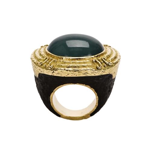 Carved Jet & Cabochon Cat's Eye Aquamarine Ring
