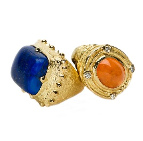 Dots & Diamonds Ring in Lapis Spessartite & Diamond Ring