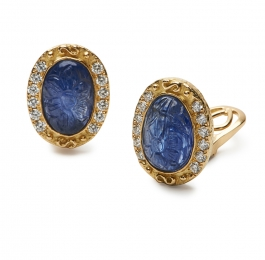 Carved Sapphire & Diamond Earrings