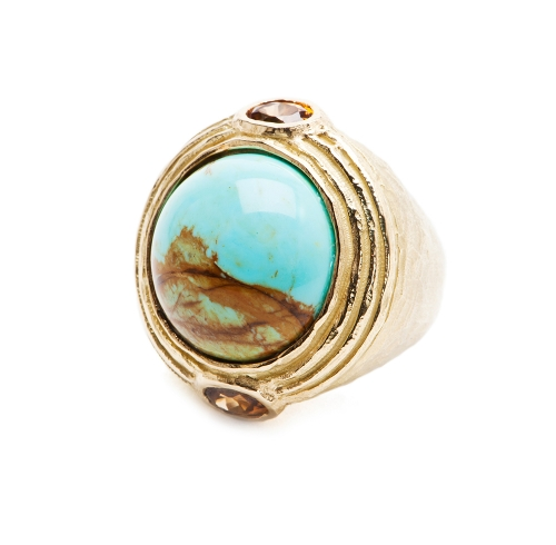 Cabochon Turquoise & Faceted Zircon Ring