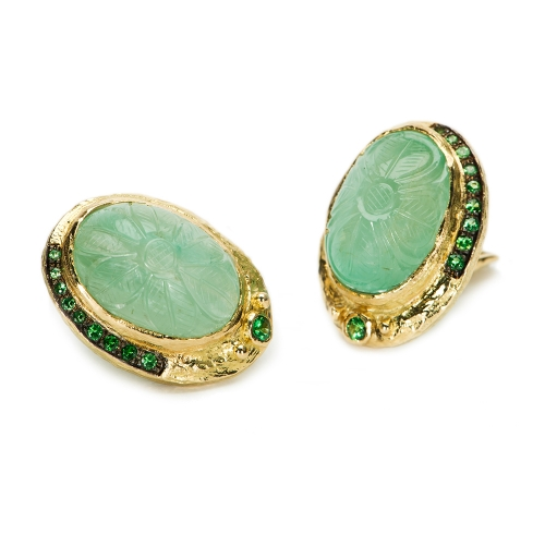 Carved Emerald & Tsavorite Garnet Earrings