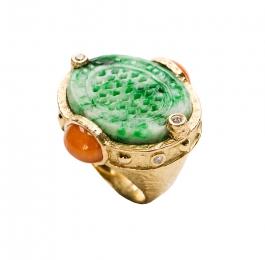 Carved Jade, Spessartite Garnet & Diamond Ring