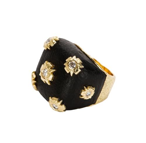 Diez Ring in Carved Jet & Diamond