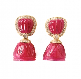 Carved Ruby & Diamond Earrings with Carved Ruby Bellshape Removable Dangles