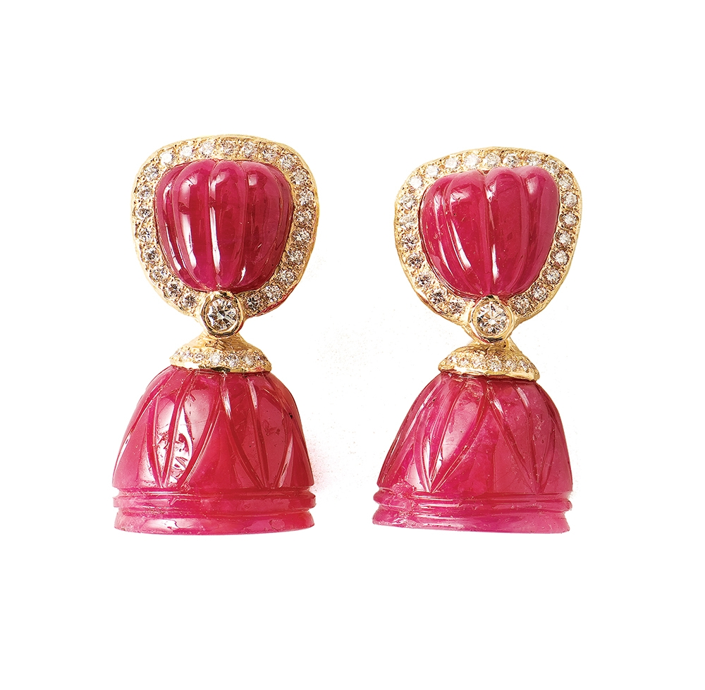 Carved Ruby & Diamond Earrings with Carved Ruby Bellshape Removable Dangles No._60_of_73_resized_.jpg