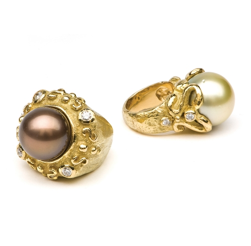 Laura's Four Diamond Rings in Brown Tahitian Pearl with Diamonds & Pistachio Tahitian Pearl with Diamonds