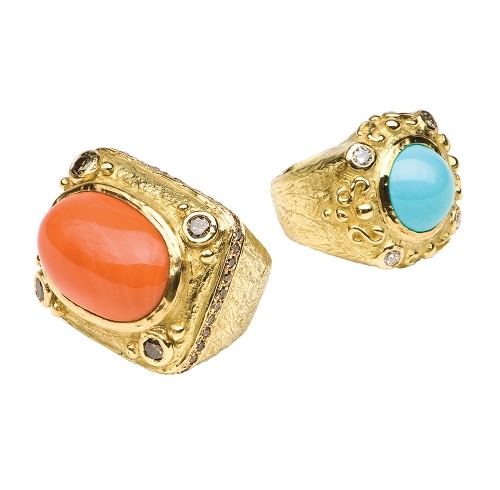 Coral with Brown Diamonds Ring & Laura's Four Diamond Ring in Persian Turquoise with Diamonds