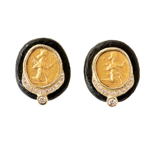 Ancient Coin, Ebony & Diamond Earrings