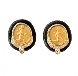 Ancient Coin, Ebony & Diamond Earrings