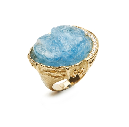 Carved Aquamarine & Diamond Ring