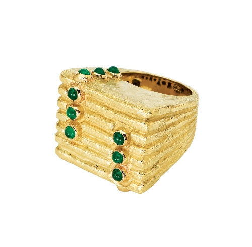 Lines & Dots Ring in Cabochon Emerald